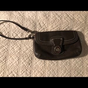 Coach Pebbled Leather Large Wristlet